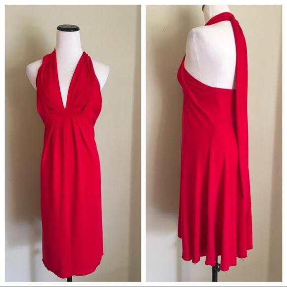 1acb3f644445 Moda International Dresses | Red Convertible Dress Halter Deep V ...